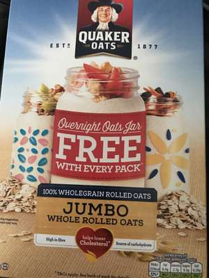 Free quaker jar with any box of quaker rolled oats pay postage only - 1kg pack on offer at Tesco 2 for £3