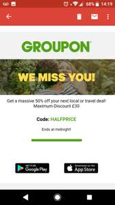 Groupon 50% off local and travel deals, ends midnight tonight