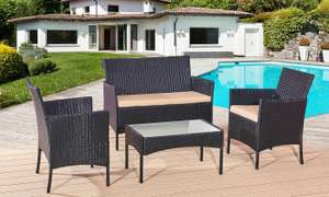 Four-Piece Rattan-Effect Furniture Set with Waterproof cushions  – £93.49 delivered w/code @ Groupon