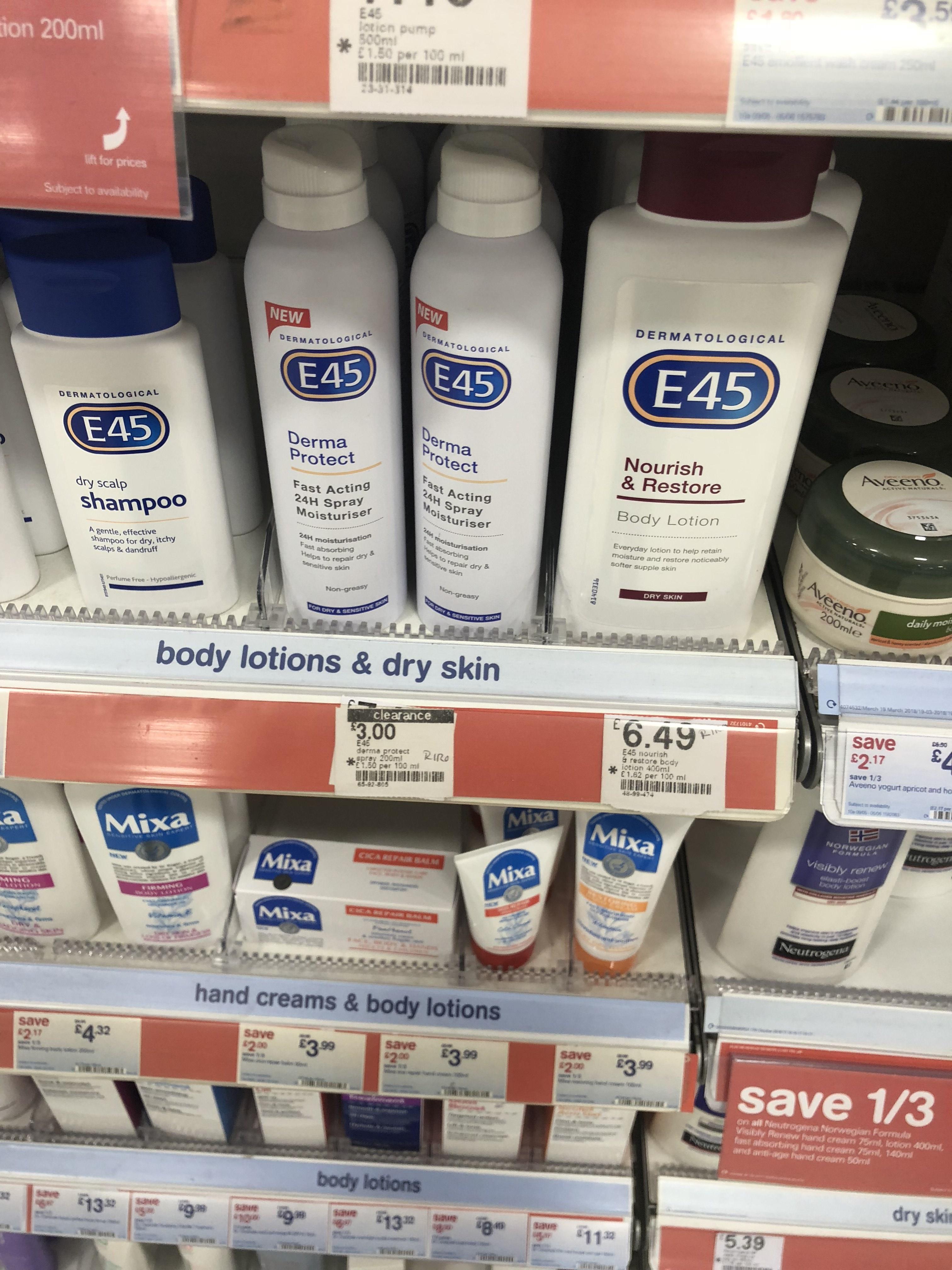 E45 derma protect spray 200ml £3 boots crayford