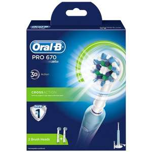 Oral B Pro 650 (with toothpaste) and Pro 670 (with additional head) electric toothbrushes down to £19.99 at B&M (seen in store at Redditch).