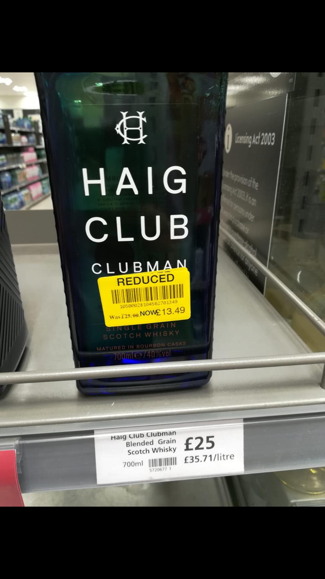 Haig Club Clubman Whisky 700ml reduced £13.49 Waitrose Barbican