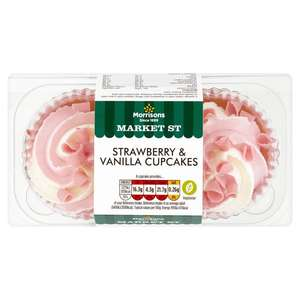 Morrisons Strawberry & Vanilla Cupcakes 2Pk online 2 for £1 instead of £1.50 a pack
