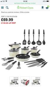 Morphy Richards 6-Piece Non-Stick Pan Set with 5 Knives and 9 Tools - Cream - £69.99 @ Robert Dyas