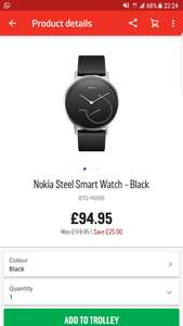 Nokia steel smart watch – Black – £94.95 @ Argos