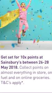 10 x Nectar points at Sainsbury's between 26-28 May 2018.