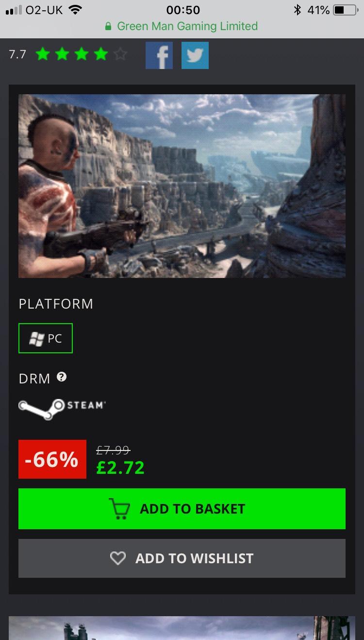 Rage - £2.72 at Greenman Gaming