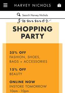 Harvey Nichols Summer Party - 35% off for Rewards Members - Free to Join (25% Off Non Members)