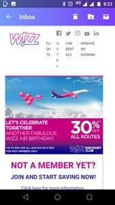 Up to 30% discount on Wizzair flights for WDC Members on 17 May