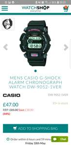 Casio G-Shock DW-9052-1VER £42.50 – 50% off RRP after voucher code applied SUN10.RRP is £85.Free delivery. @ Watch Shop