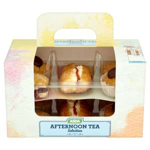Afternoon Cream Tea Profiteroles, Cream Scones & more £3  / Larger Afternoon Tea Selection incl. 42 cakes  £5.00  @ Asda