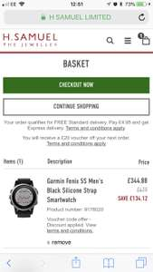 Garmin Fenix 5s - £383.20 (+10% off if you sign up to newsletter) @ H Samuel