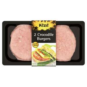 Time for a change with the Barbecue..... 2 Crocodile Burgers 220g, £3 Iceland