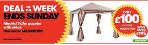 Madrid Gazebo with Sides 3m x 3m - £100 with code at JTF