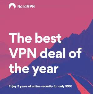 NordVPN three years plan with 77% off and 2 years with 75% off.