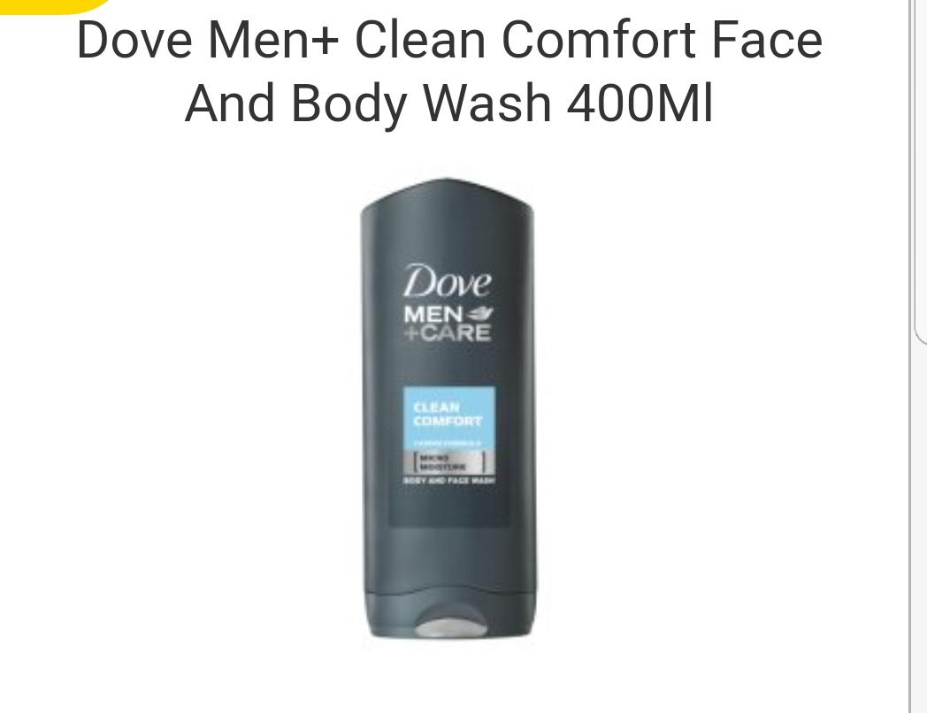 Poundland Darlington Dove Men+Care Body wash Clean Comfort XL 400ml £1