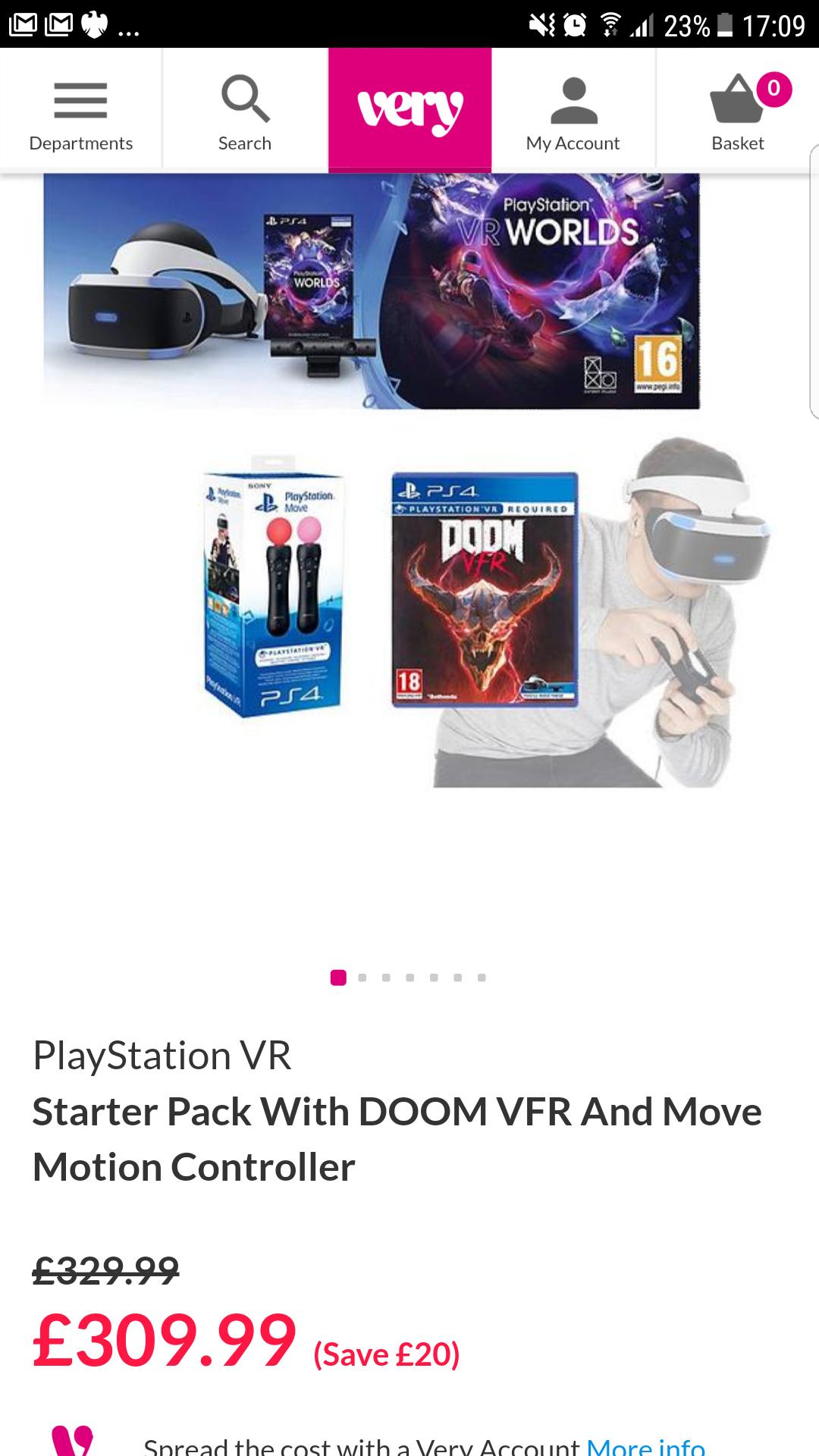 Playstation VR Starter pack + Doom VFR + Move motion controller £283.98 @ Very
