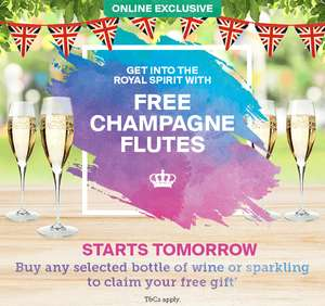 Buy selected bottle of wine or fizz and get 4 champagne flutes FREE from 18th May @ Iceland