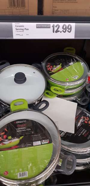 Ceramic Wok with glass Lid and steel induction base £12.99 . No PTFE LIDL