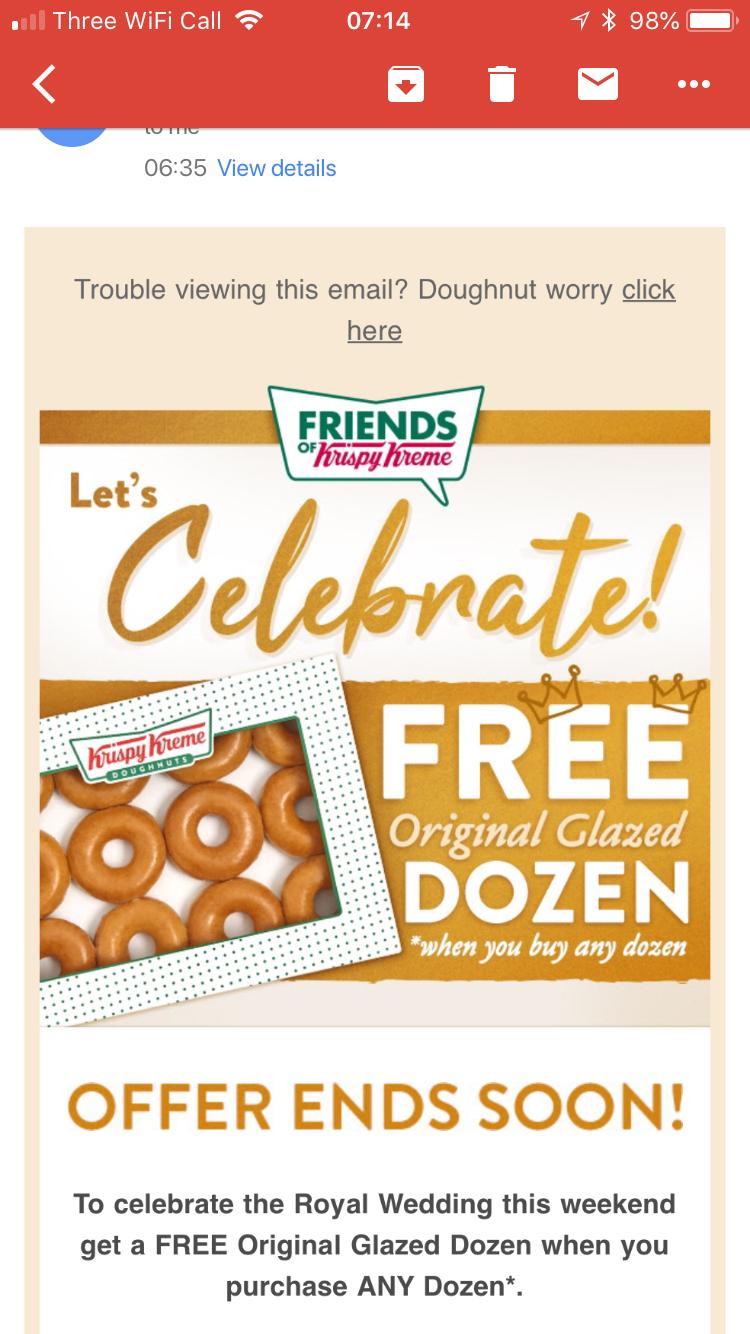 KRISPY KREME - buy any Dozen, Get one Dozen Original Glazed Free -  26th-28th May