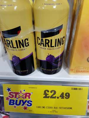 REDUCED Carling black fruits cider x 4 500ml Cans - £1.99 @ home bargains