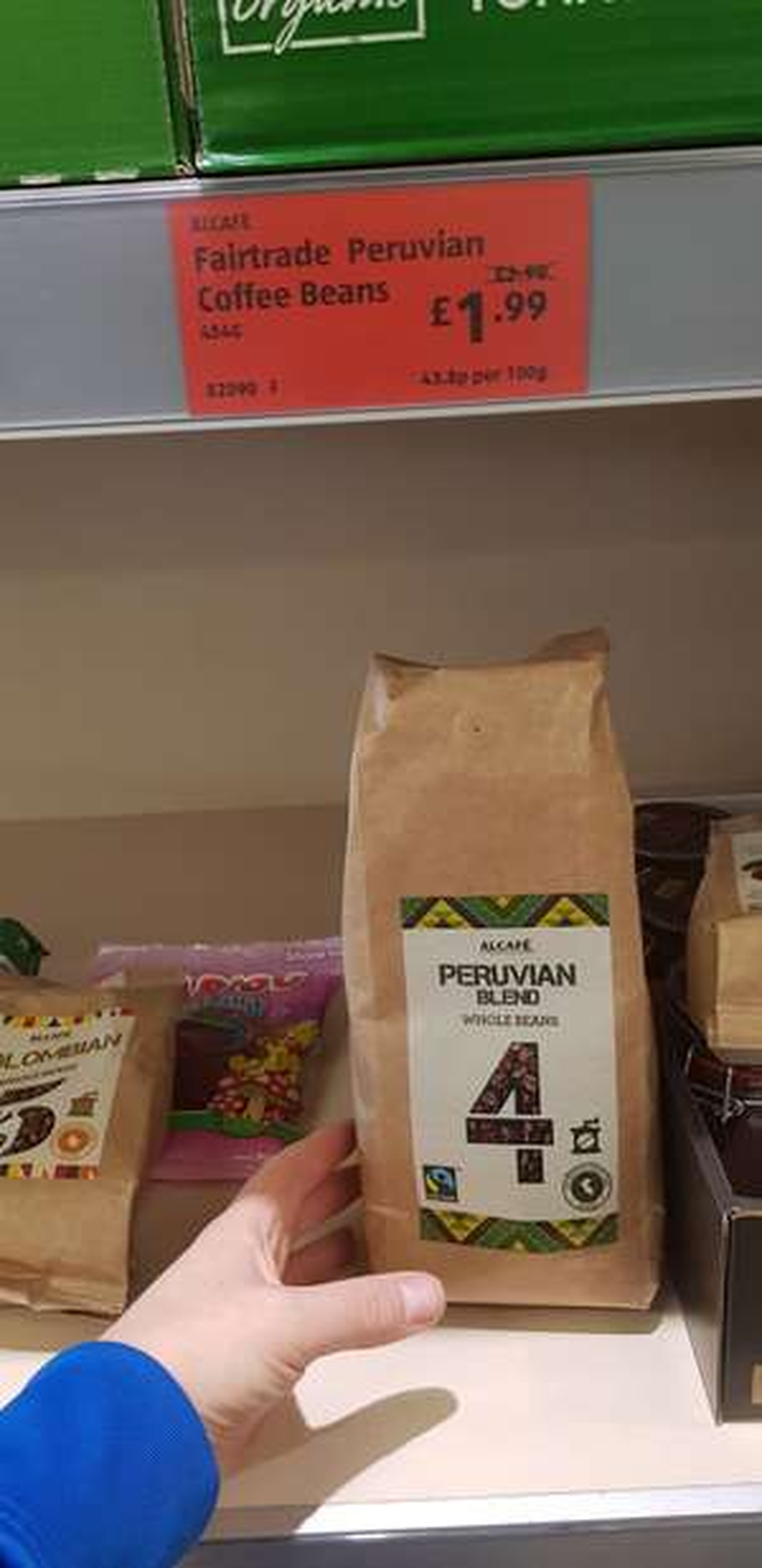 Aldi fair trade Peruvian coffee beans 454gr instore for £1.99