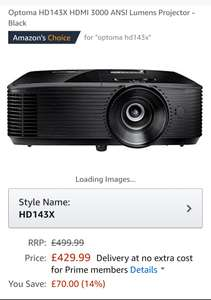 Optoma HD143X HDMI 3000 ANSI Lumens Projector - Black - £429.99 @ Amazon