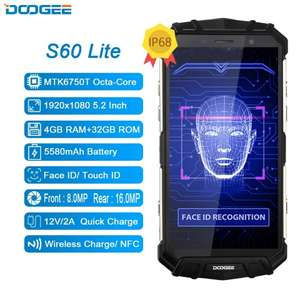 New IP68 Water DOOGEE S60 Lite Wireless Charge 5580mAh 12V2A Quick Charge 5.2'' FHD MT6750T Octa Core 4GB 32GB Smartphone 16.0MP - £129.78 @ Ali Express (Doogee Official Store)