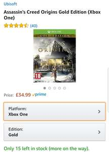 AMAZON PRICE MATCH - AC - ORIGINS GOLD EDITION WITH SEASON PASS. PS4 / XBOX - £34.99