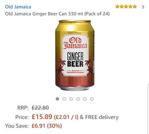 Cheap Amazon deal - Old Jamaica Ginger Beer Can 330 ml (Pack of 24) - £8.40 Prime / £12.35 non-Prime - Sold and Despatched by Slamtech Online