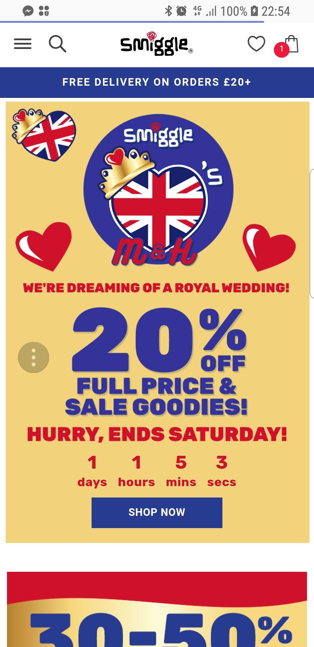 20% off smiggle until Saturday