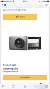 YI Dash Cam (Amazon lightening deal @ 10.55am 19th May) should be £30 Sold by YI Official Store UK and Fulfilled by Amazon