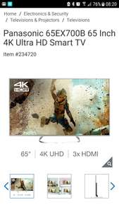 Panasonic 65 4k hdr tv £899.99 Delivered @ Costco