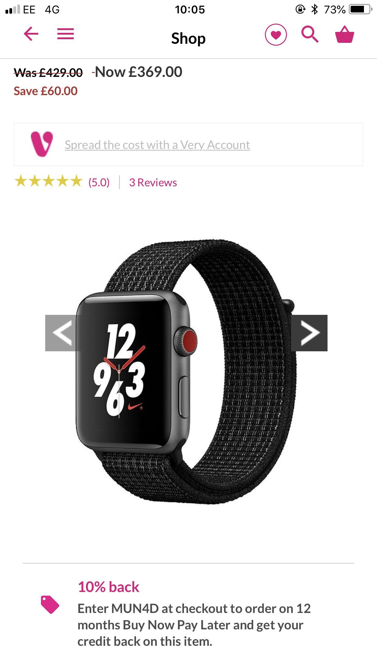 Apple Watch Nike+ 42mm GPS + Cellular £332.10 @ BNPL code @ Very