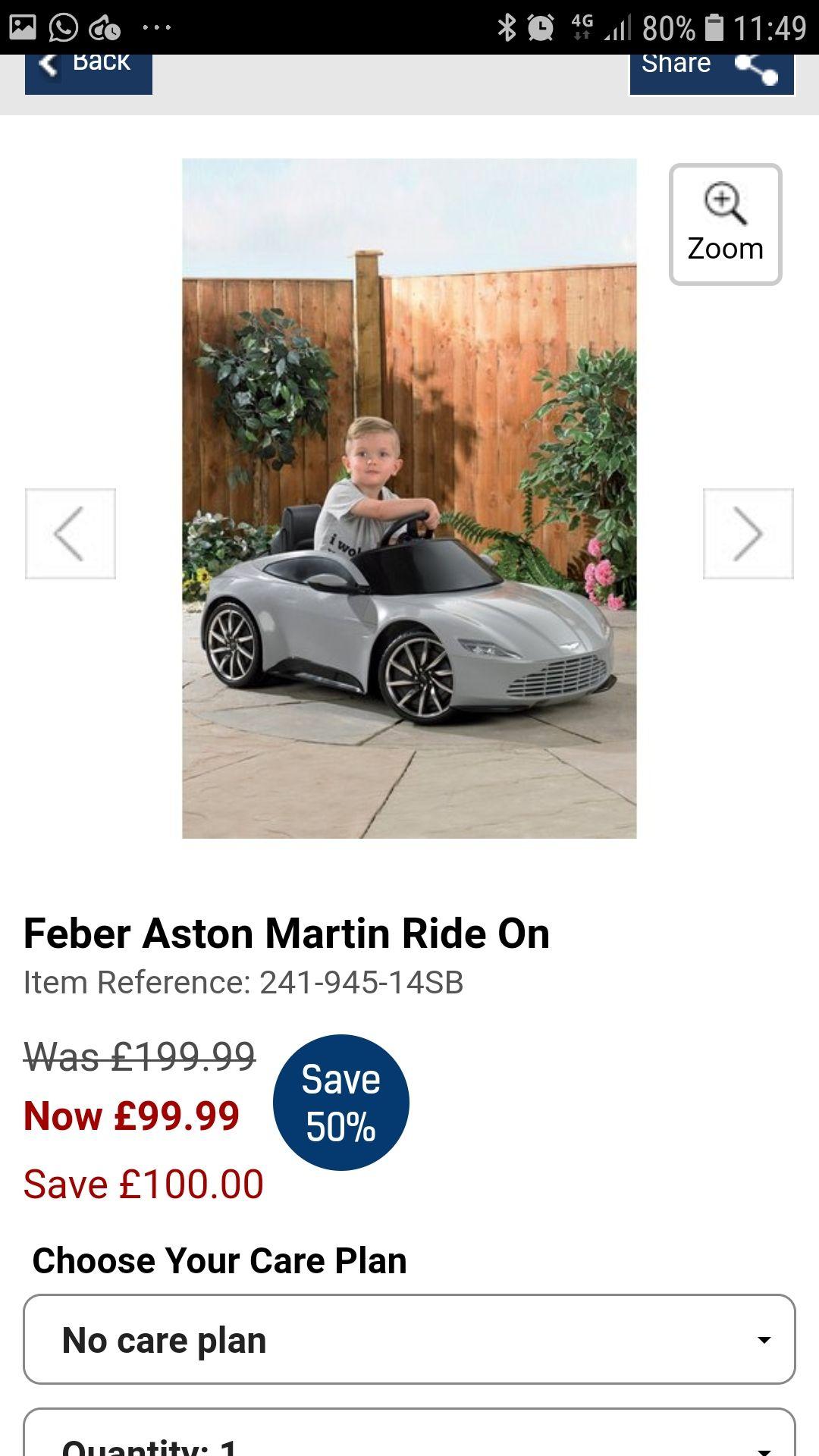 Feber Aston Martin Ride on @ Studio £99 (was £199)
