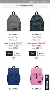 Eastpack backpack from £19.95 delivered.. see description.. 30 year gurantee.. @ Country house outdoor