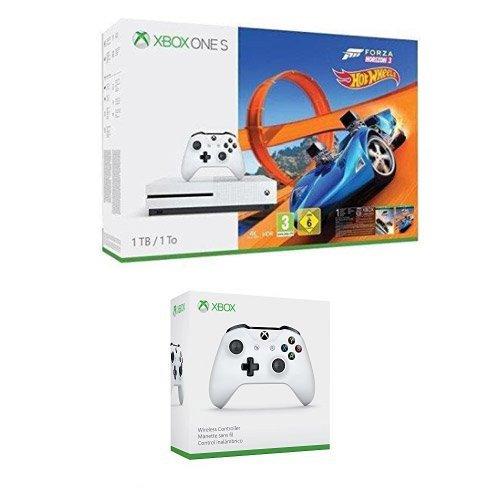 Xbox One S 1TB Console + Forza Horizon 3 + Hot Wheels DLC + Wireless Controller White incl. Steep, Forza Horizon 2 + Halo 5 and The Crew Download Codes + Xbox Live 3 Month Membership @ Amazon DE