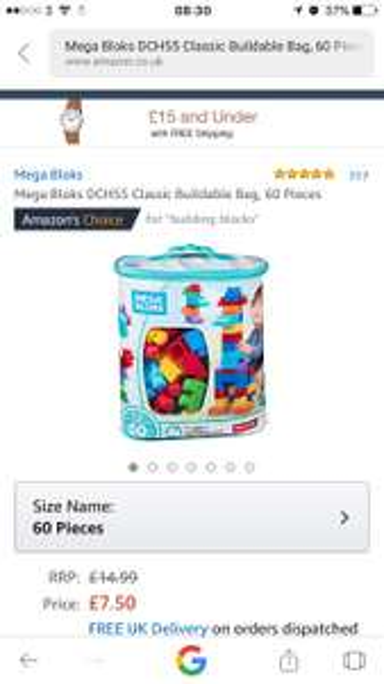 HALF PRICE at AMAZON Mega Bloks Classic Buildable Bag (60 Pieces) for £7.50 Prime (£11.49 non Prime)
