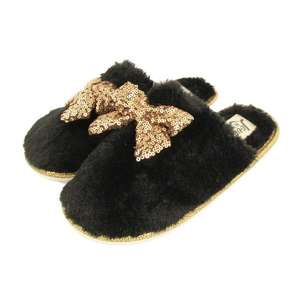 Slippers sale, eg Sequin sparkle bow womens slippers\ mens mule slippers £1.99 @ Poundstretcher