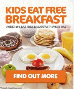 One adult breakfast PLUS two kids breakfasts for £9.50 - Unlimited Cooked and Continental Breakfast + Baked pastries + Cereal + Fresh Fruit + Chilled Juices + Tea / Costa Coffee @ Beefeater