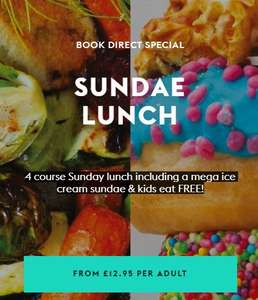 4 Course All you can eat Sunday Lunch incl mega ice cream sundae + Kids Eat Free from £12.95 @ Village Hotels (Works out 2A/2C from £6.48pp)