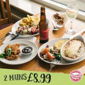 TWO Main Courses for £8.99 @ Brewers Fayre (12-6pm mon - fri)