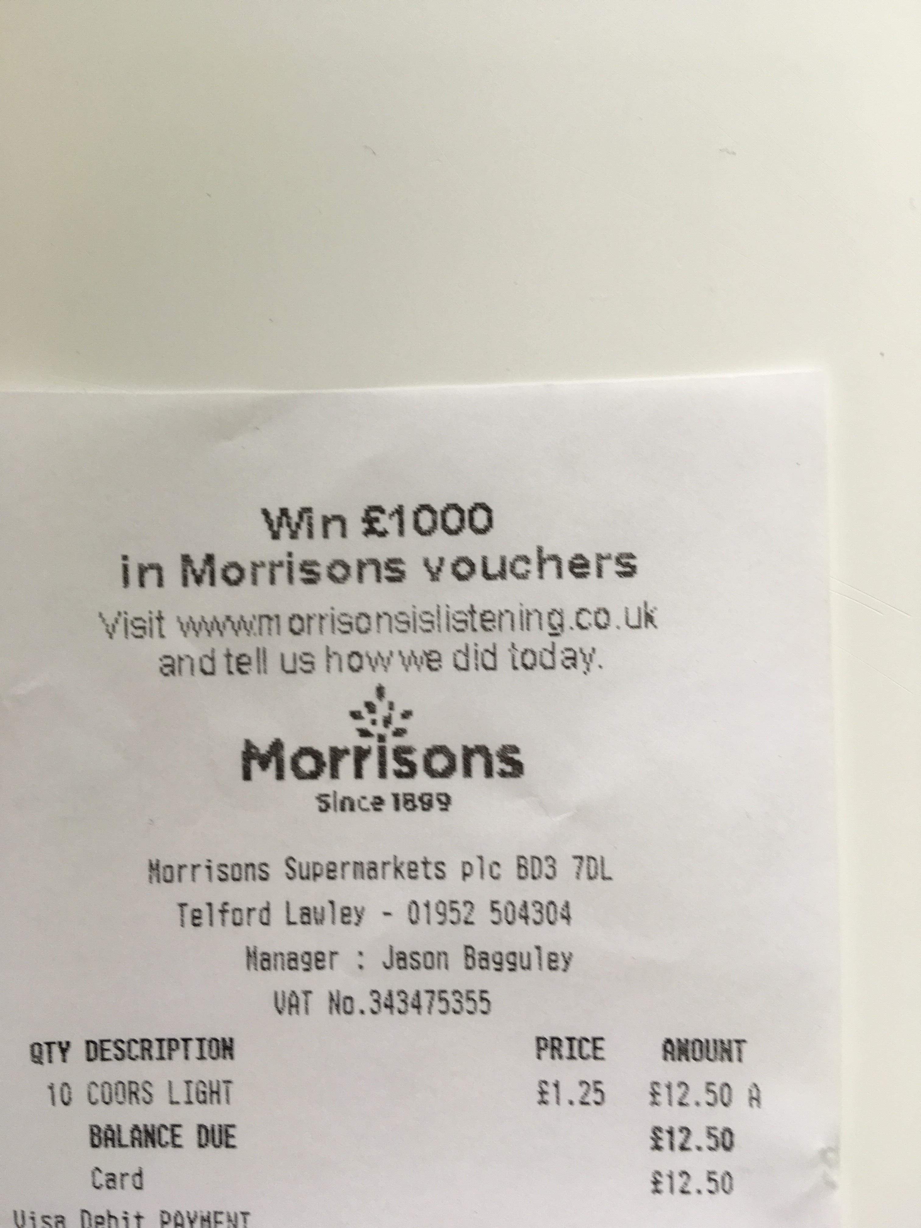 Coors light - £1.25 instore @ Morrisons
