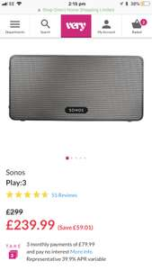 Sonos Play 3 - Black/White £219.99 with code @ Very