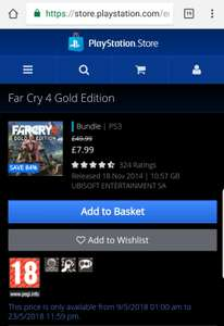 FAR CRY 4 GOLD EDITION (PS3) FROM @ PS Store - £7.99 or £14.99 for PS4 version