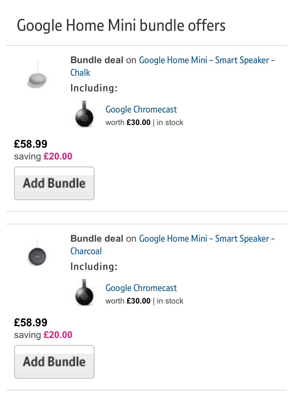Google Home Mini + Chromecast - £58.99 + 1% CB , Save £20 @ BT Shop
