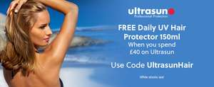 Free Daily UV Hair Protector when you Spend £40 on Ultrasun plus there is 10% off All Products with Code @ All Beauty
