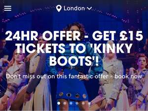 24 FLASH SALE - £15 tickets to see Kinky Boots in the West End @ Today tix