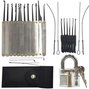 22pcs Lock Pick Sets with 1pc Transparent Practice Padlock now £6.89 Delivered w/code @Tmart