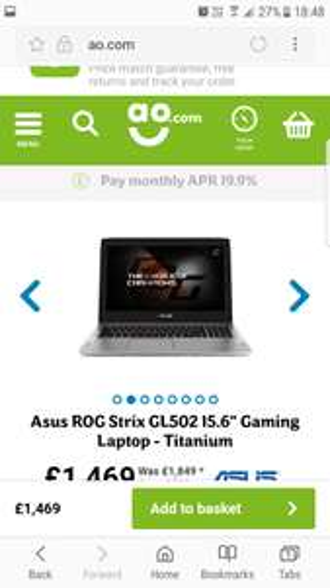 Asus ROG Strix gaming laptop £1469 @ AO